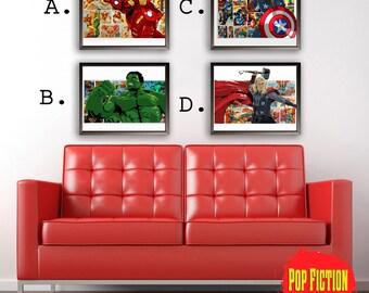 The Avengers Original Artwork Canvas & Prints. Comics, Book, Collectible. Digital Mix-Media Art. Pop Culture.