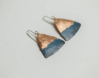 Teal earrings Triangle earrings Teal blue Turquoise earrings Geometric jewelry Gold triangle Geometric earrings Minimalist Golden earrings