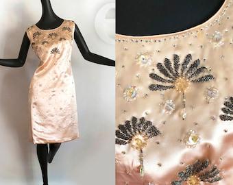Vintage 1960's Beaded Rockabilly Wiggle Dress Pink Blush 60's Bombshell Pin Up / Art Deco Flapper Satin Cocktail Party Shift Sheath Medium