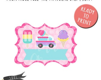 Ice Cream Truck Scroll Frame- INSTANT DOWNLOAD - PDF Printable