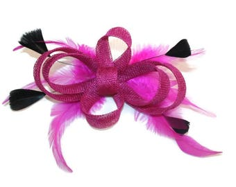 Pink Fascinator Cerise Fascinator Black & Pink Fascinator Black Feather fascinator Wedding Fascinator Pink Races Fascinator Black Fascinator