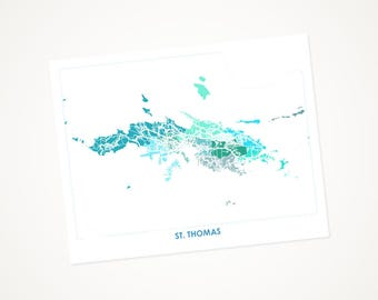 St Thomas Map Print.  Choose your colors and size.  U.S. Virgin Islands Artwork.