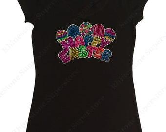 "Women's Rhinestone & Rhinestud T-Shirt "" Neon Happy Easter "" in S, M, L, 1X, 2X, 3X"