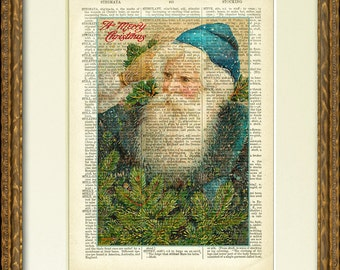 MERRY CHRISTMAS SANTA Dictionary Page Print - a fun Santa illustration on an antique dictionary page- charming vintage Christmas wall decor