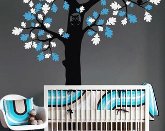 "Owl Tree Wall Decal - Tree Wall Sticker - Tree Decal - Large: approx 85"" x 93"" - K044"