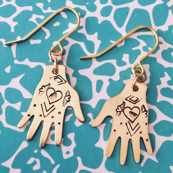 Frida Kahlo Gold Brass Hand Earrings Hearts Earrings Tattoo Milagro Gypsy Mexican Dias De Los Muertos Folk Art Feminine Delicate Unusual