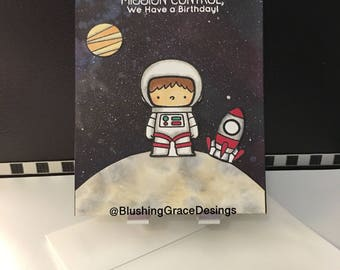 "Child Birthday card ""Mission Control we have a Birthday"""