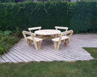 Round Garden Picnic Table / Bench Set with Back Rests - Thick Rustic Solid Heavy Duty Timber Wood Pub Restaurant Shop Cafe
