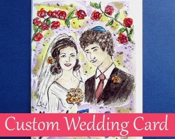 Custom Wedding Card, Mazel Tov on Your Wedding, Jewish Wedding, Jewish Art Card, Hand Painted Card, Congratulations, Original Watercolor Art