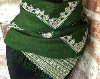 Vintage Wool Scarf Forest Green Woven