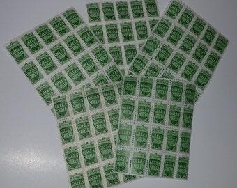 Vintage paper supplies savings trading stamps 100 Green Shield 5 sheets mixed media ephemera