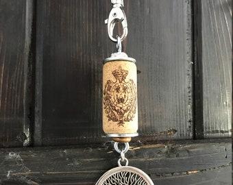 wine cork tree of life keychain