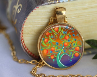 TREE OF LIFE Necklace Glass Pendant Necklace Tree of Life Art Glass Pendant Necklace Jewerly Your Choice of Finish