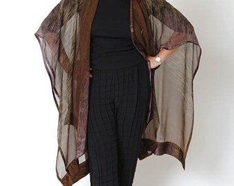 "Women's Fashion Dark Brown ""Geode"" Hand Painted Silk Ruana, Designer Original, Perfect Travel Accessory, Made in USA, Gift with Purchase"
