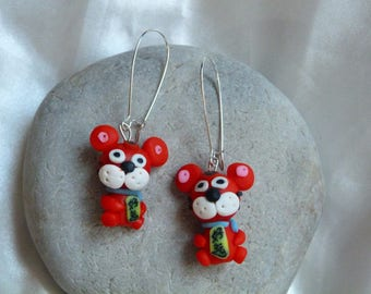 SMALL RED POLYMER CLAY DOG EARRINGS