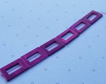 Purple Mother of Pearl Rectangle Donut Beads