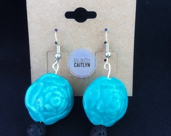 Blue rose diffuser earrings with lava stone beads // jewelry for aromatherapy and essential oils