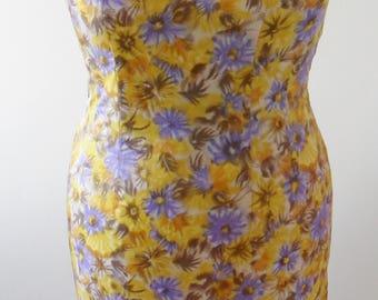 1960s Vintage Satin Floral Wiggle Dress