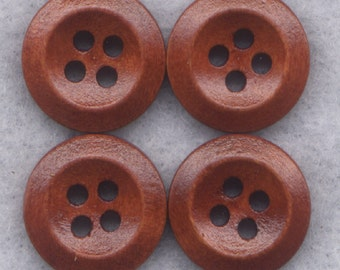 Rusty Brown Buttons Simple Classic Wooden Buttons 15mm (1/2 inch) Set of 8 /BT265B