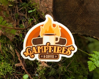 CAMPFIRES AND COFFEE Sticker : Camping Sticker, Adventure Stickers, Campfire Coffee, Camp Stickers, Coffee Stickers, Outdoorsy Stickers