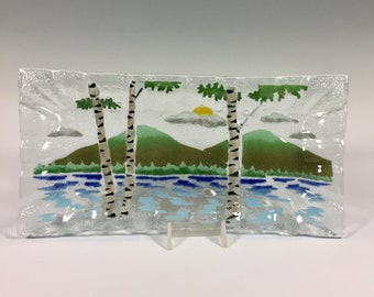 Birch Tree Tray, Fused Glass Tray, Lake Scene, Mountains, Birch Trees, Bread Tray, Cheese Plate