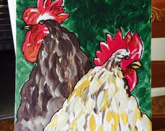 Chicken and Rooster original painting by Nita marked 1/2 off
