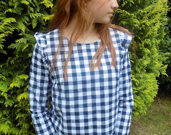 Ruffle shoulder, big gingham check, cotton, navy and white, womens top, made to order