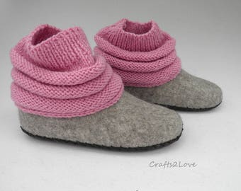 Felted slipper boots Women felt slippers Knitted uppers Felted wool Rubber - light outdoor wear House shoes felt slippers Made to Order