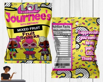 LOL Surprise Dolls Fruit Snacks, Fruit Snacks, Party Decor, Party Favor, LoL Birthday Party, LOL, Baby, Kids, Toddlers
