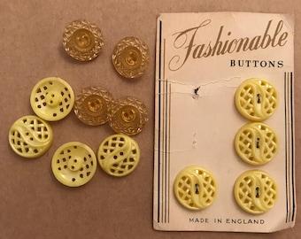 Vintage lemon Yellow Buttons