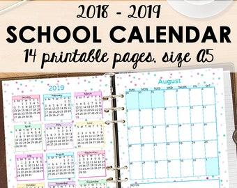 Monthly Planner 2018-2019, A5 Calendar, Student Planner Printables, Academic Monthly Calendar, Filofax Inserts Calendars A5 Instant Download