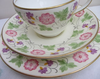 Lovely vintage Wedgwood hand painted bone china trio, tea party, English china tea cup saucer and plate tea set for one, tea party, Downton