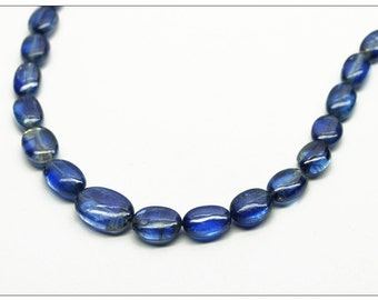 Kyanite 16-Inch Strand of Plain Tumbled Oval Beads