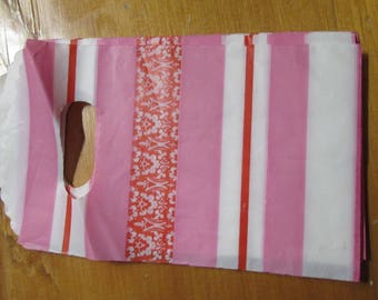 Set of 10 bags pink stripes