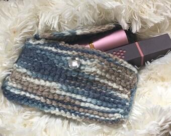 Crochet Wallet - Card Holder - makeup case - handmade in blues - Crochet Case