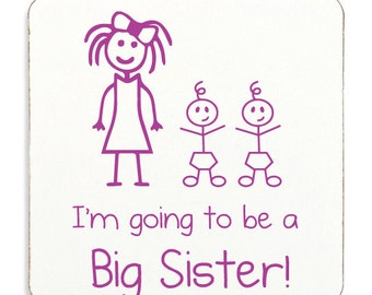 Big Sister Twins Coaster White With Pink Text Childrens Cork Back Gift New Born Gift Im Going To Be A Big Sister Present