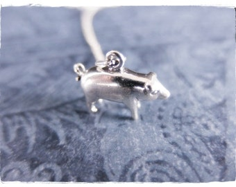 Silver Pig Necklace - Sterling Silver Pig Charm on a Delicate Sterling Silver Cable Chain or Charm Only