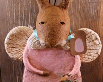 Primitive Easter Bunny Angel, OOAK, handmade paper mache, Primitive Easter Rabbit,Bunny Figurine