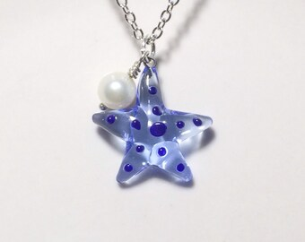 Glass Starfish Necklace Stocking Stuffer Christmas Gifts Fresh Water Pearl Mothers Day Gift Friendship Gift Beach Jewelr