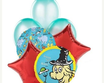 ON SALE 9 pc Cat in the Hat Green eggs and Ham Dr Seuss Birthday Balloon Bouquet