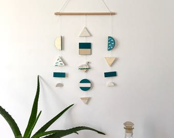 Swan wall jewelry / / teal, white