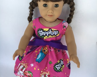 18 inch doll dress made from Shopkins fabric, Pink Shopkins dress made to fit 18 inch  dolls such as American Girl Dolls