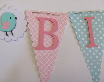 Pink and turquoise Birthday Banner, Happy Birthday Banner, Happy Birthday, Girl Banner 1st Birthday, Birthday Decorations, Bird Banner