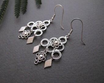 Silver earrings-Filigree silver earrings-Jewelry-Yemenite earrings-Israel jewelry-Ethnic earrings-silver jewelry-everyday earrings