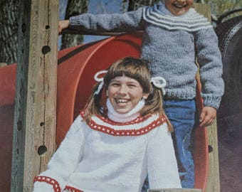 Sweater Knitting Patterns Children Bouquet 412 Sizes 22 - 30 Inches 56 - 76 cm Bulky Weight Yarn Boy Girl  Vintage Paper Original NOT a PDF