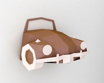 DIY Papercrafts,Car front wall decor,wall mount,3d wall art,paper car,vintage car,Origami,Wall hung,Home decor,Printables,Volkswagen beetle