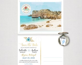 Destination wedding Portugal Algarve Europe Save the date Postcard with illustration sketch drawing Coast Beach watercolor - Deposit Payment