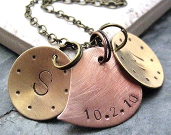 Personalized Wedding Anniversary Necklace, 2 brass discs with copper heart