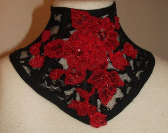 Final sale black/red lace neckcorset