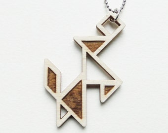 Tangram dog (with ball) necklace ~ Laser cut from birch wood ~ Geometric pendant ~ Gift boxed